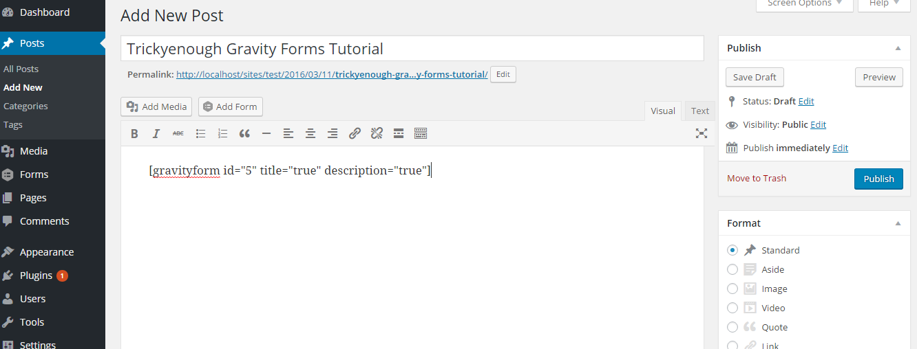 forms shortcode