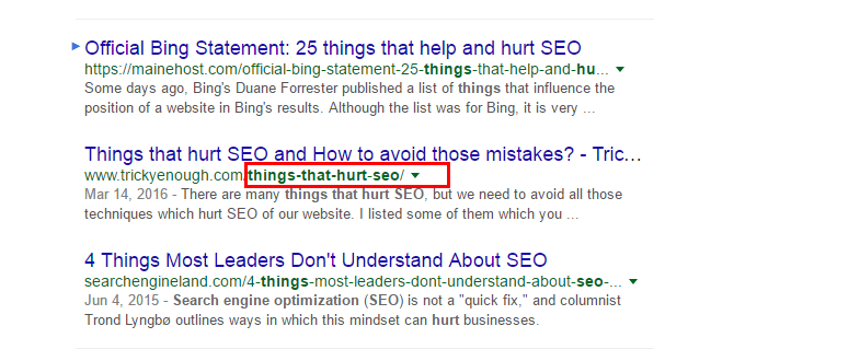 keyword in the URL of post