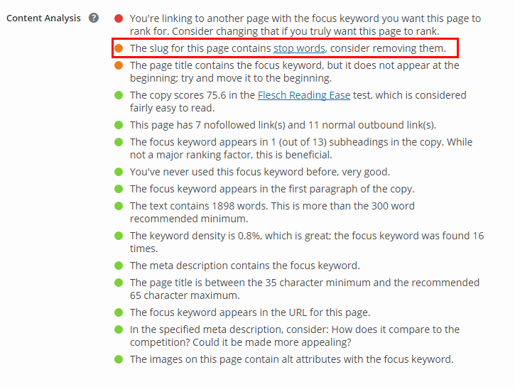keyword in the URL of page