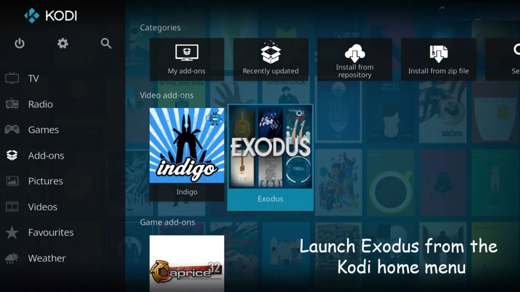 You have to Launch Exodus from the Kodi home menu