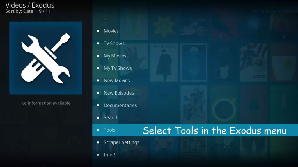 Select Tools in the Exodus menu