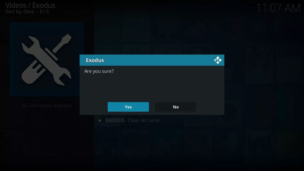 Select Yes to confirm and clear out the Exodus cache