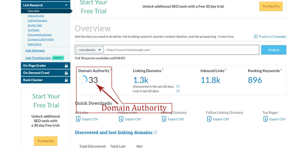 How to Increase Domain Authority MOZ Tools Example