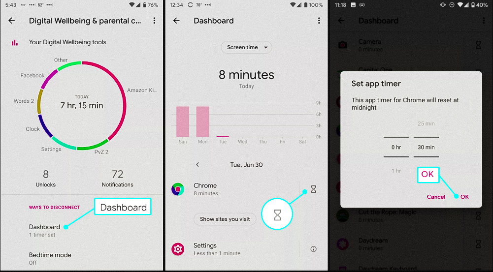 Showing Digital Well-being total time, Screen time on Android and App timer
