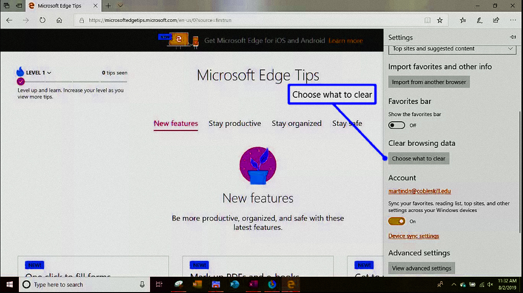 choosing files to clear in Microsoft Edge browser