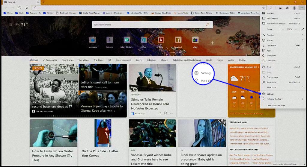 Highlighting Settings in Microsoft Edge browser