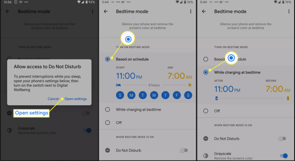 Access to bedtime mode, time based on schedule and time when charging at bedtime to limit screen time on Android