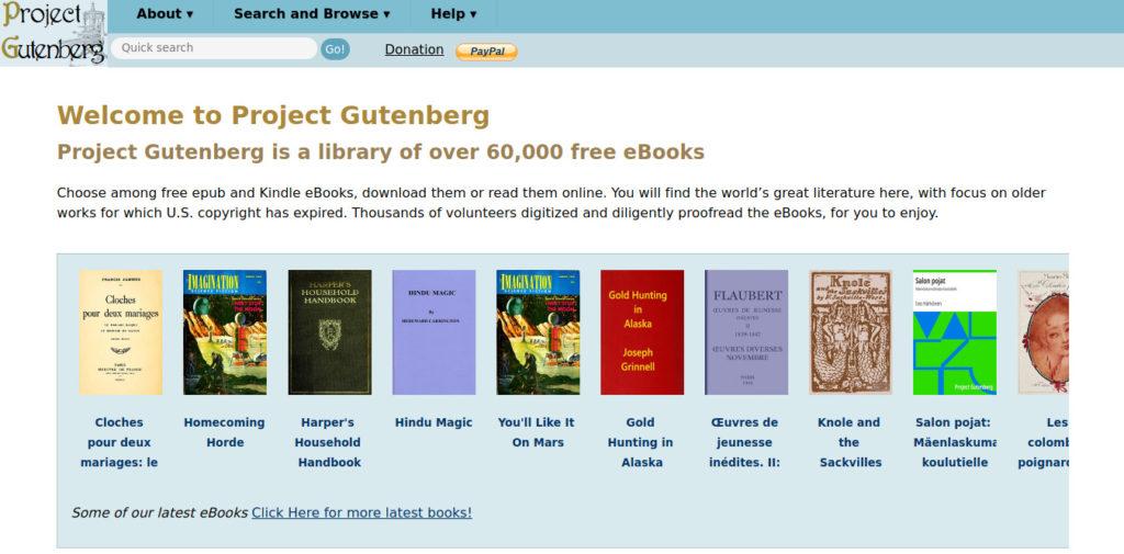 Project Gutenberg es un sitio web para descargar libros gratis