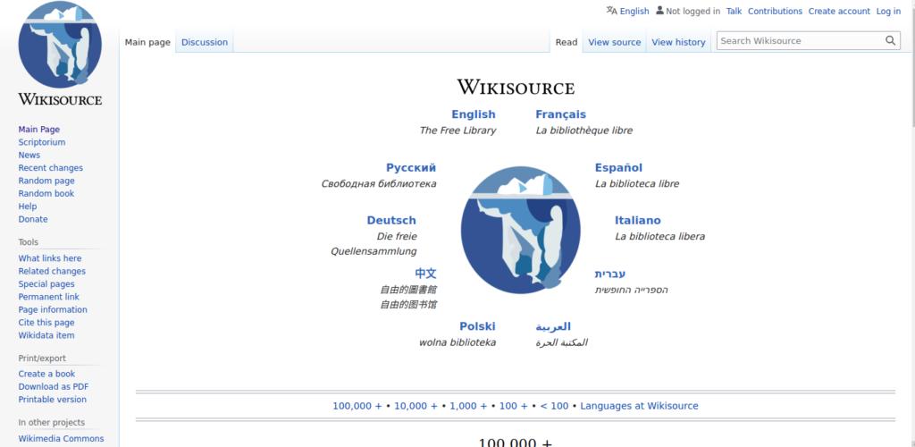 Wikisource es un sitio web para descargar libros gratis.