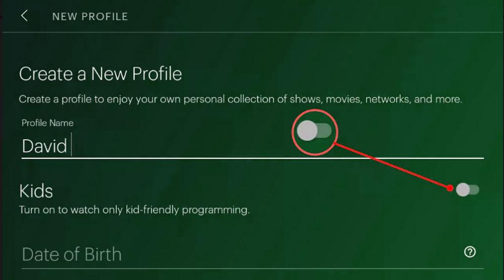Creating New profile enabling parental lock on Hulu