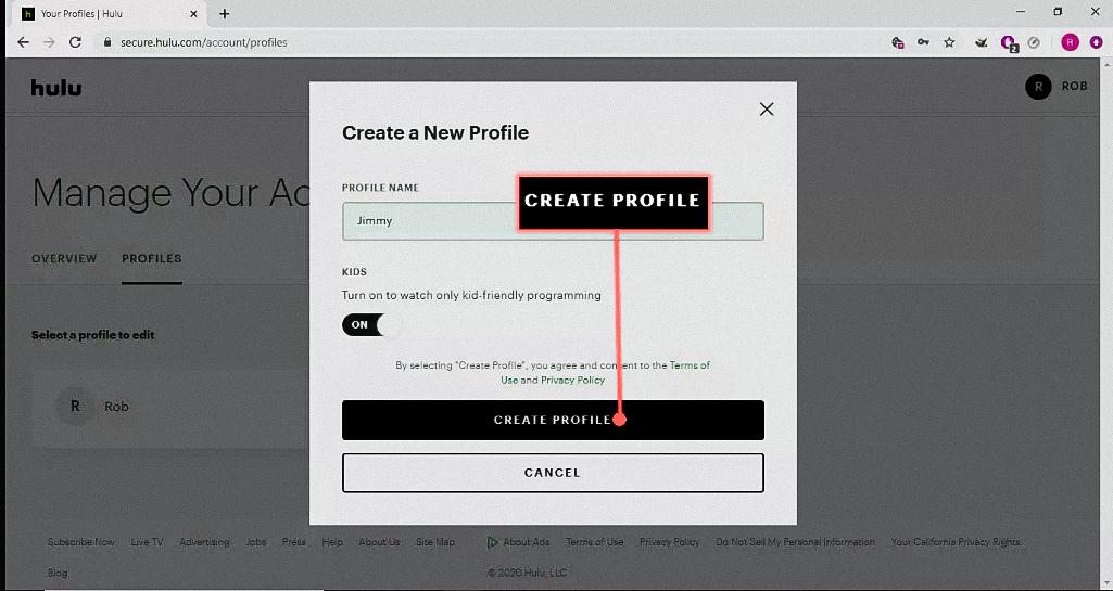Creating a Hulu profile