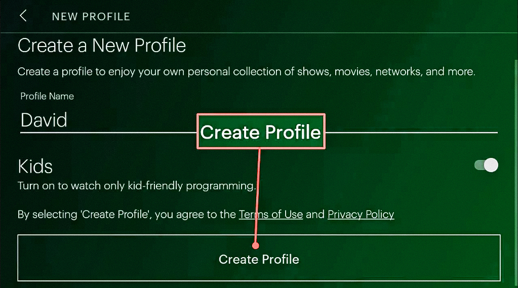 Highlighting the Create profile option with parental lock on Hulu