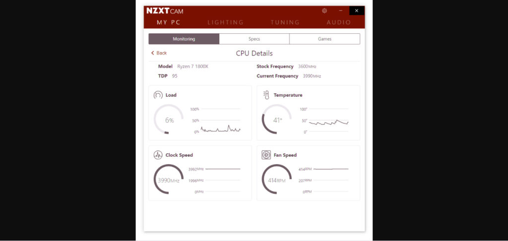 NZXT Cam showing how to check CPU temperature.
