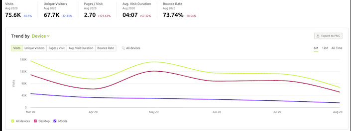 Showing total visits, unique visitants, page views and visits, time and bounce rate of a website.