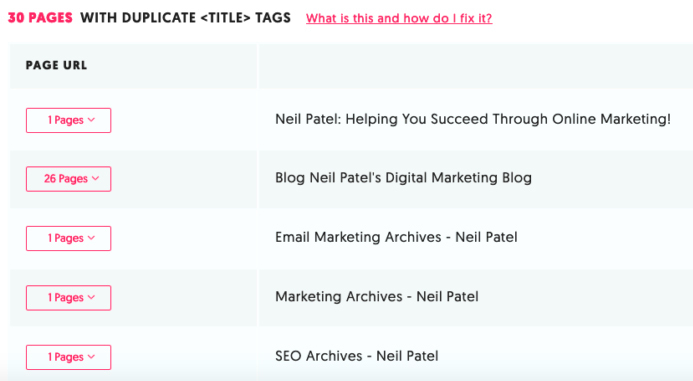 showing duplicate title tags on different webpages of a random website.