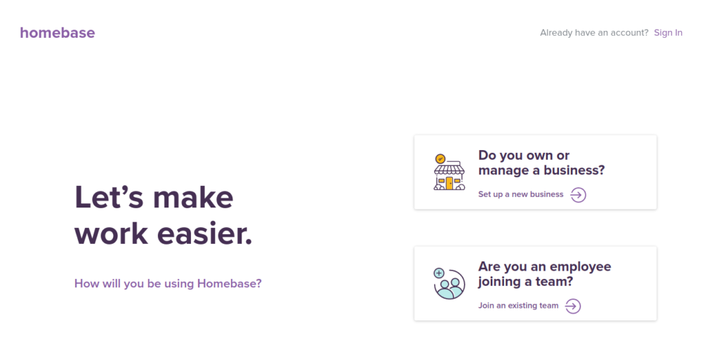 Homebase best software for small businesses sign up page.