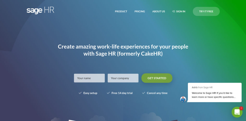 Sage HR home page and sign up best software for HR solutions. One of the best employee scheduling apps.