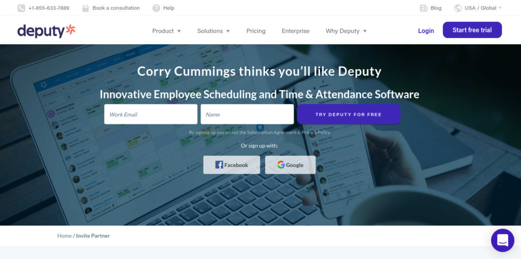 Deputy software sign up page best employee scheduling software used to manage attendance and time.